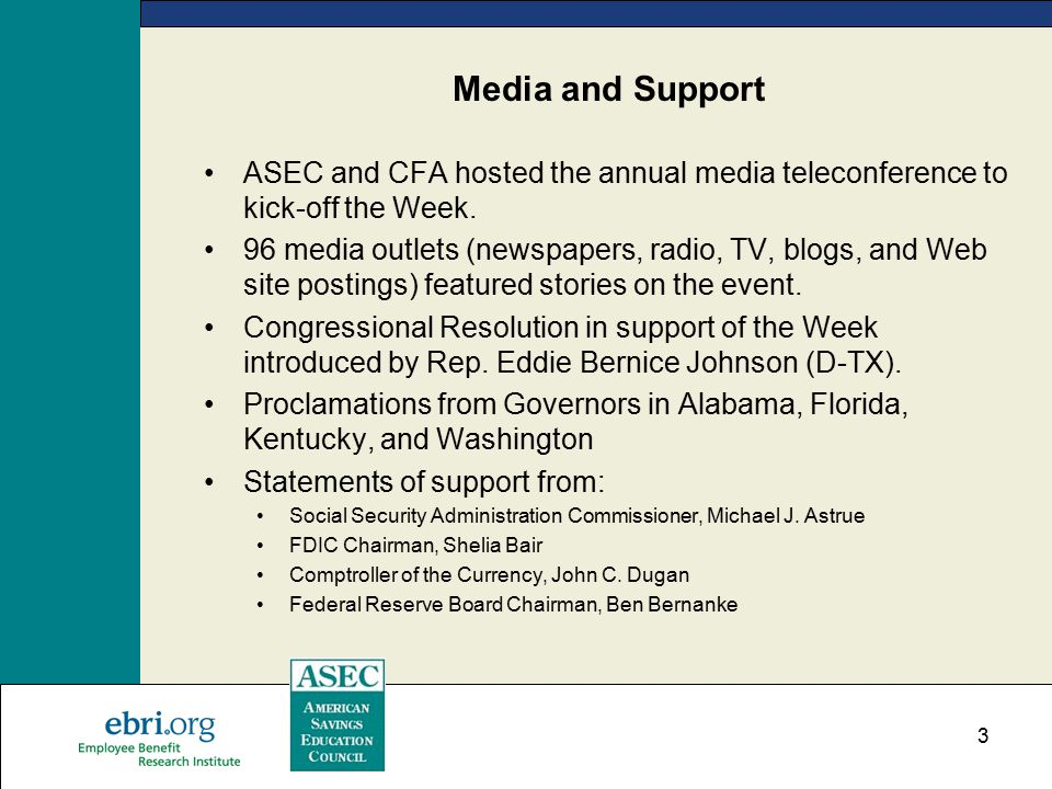 3 Media and Support ASEC and CFA hosted the annual media teleconference to kick-off the Week.