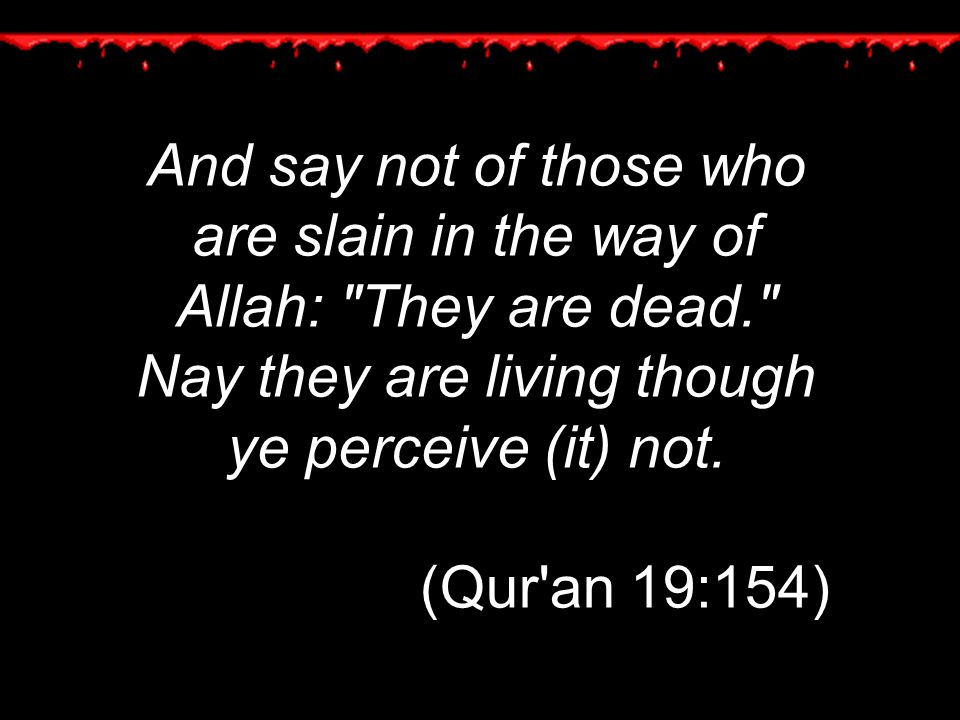 And say not of those who are slain in the way of Allah: