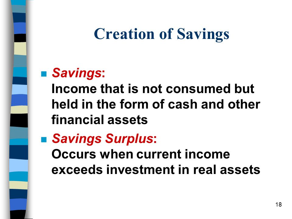 18 Creation of Savings n Savings: Income that is not consumed but held in the form of cash and other financial assets n Savings Surplus: Occurs when current income exceeds investment in real assets