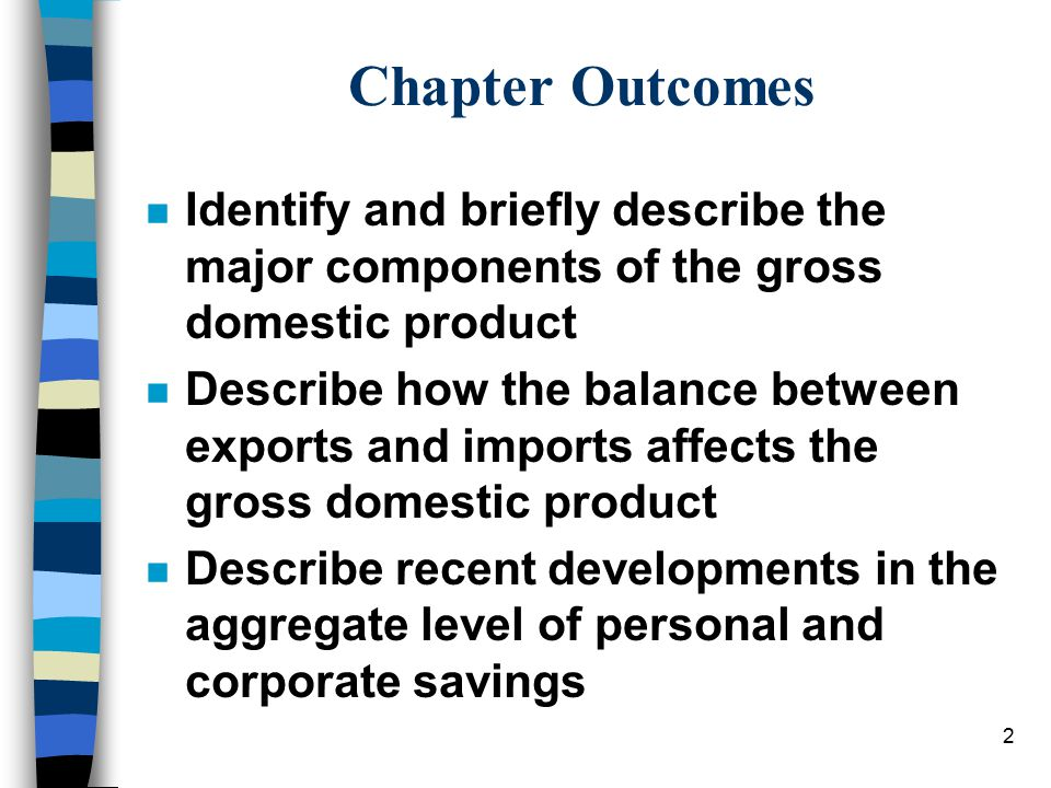 2 Chapter Outcomes n Identify and briefly describe the major components of the gross domestic product n Describe how the balance between exports and i