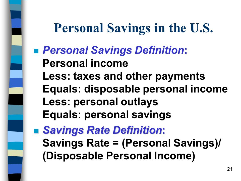 21 Personal Savings in the U.S.
