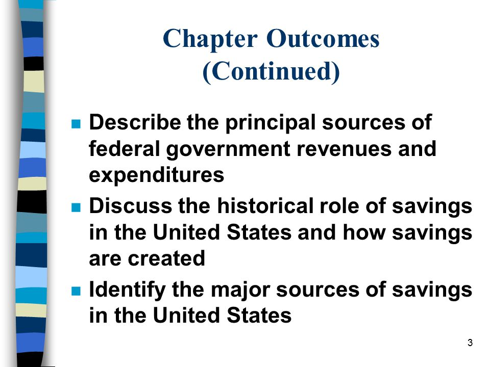 3 Chapter Outcomes (Continued) n Describe the principal sources of federal government revenues and expenditures n Discuss the historical role of savings in the United States and how savings are created n Identify the major sources of savings in the United States