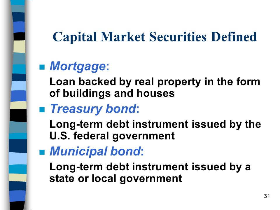 31 Capital Market Securities Defined n Mortgage: Loan backed by real property in the form of buildings and houses n Treasury bond: Long-term debt instrument issued by the U.S.