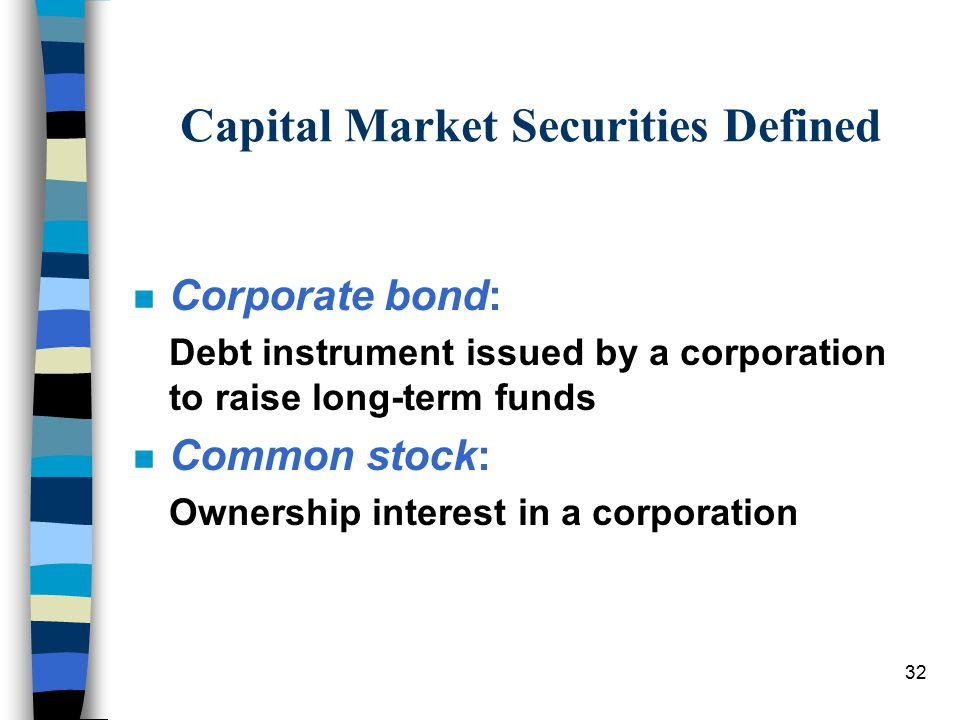 32 Capital Market Securities Defined n Corporate bond: Debt instrument issued by a corporation to raise long-term funds n Common stock: Ownership interest in a corporation