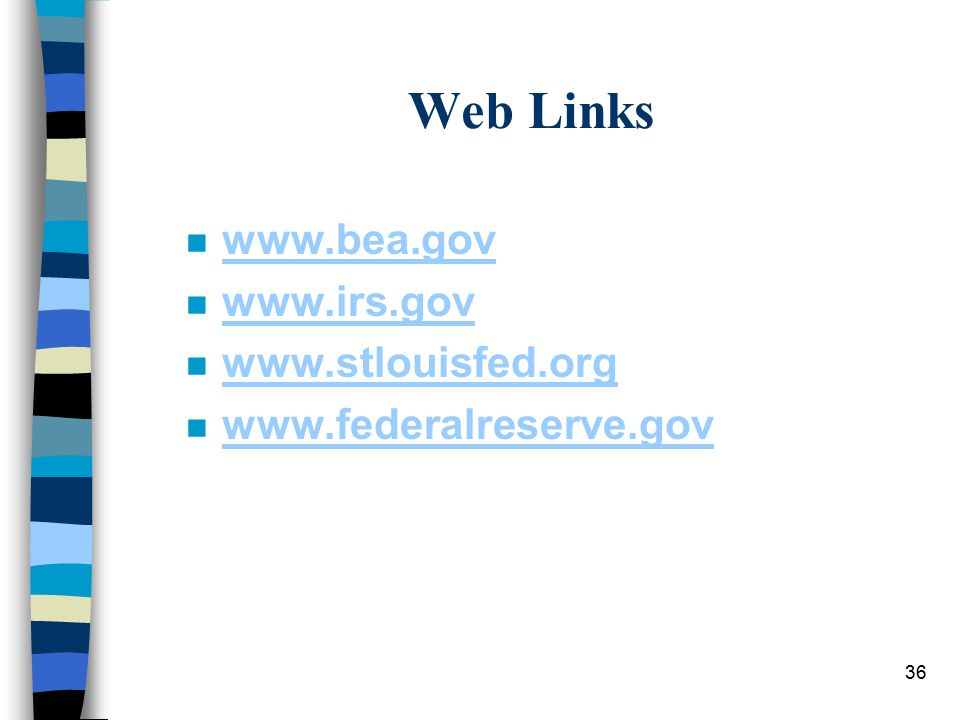 36 Web Links n www.bea.gov www.bea.gov n www.irs.gov www.irs.gov n www.stlouisfed.org www.stlouisfed.org n www.federalreserve.gov www.federalreserve.gov
