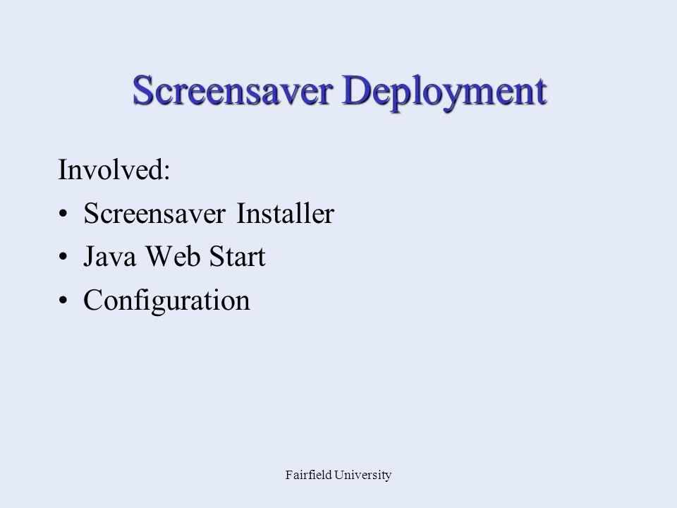 Fairfield University Screensaver Deployment Involved: Screensaver Installer Java Web Start Configuration