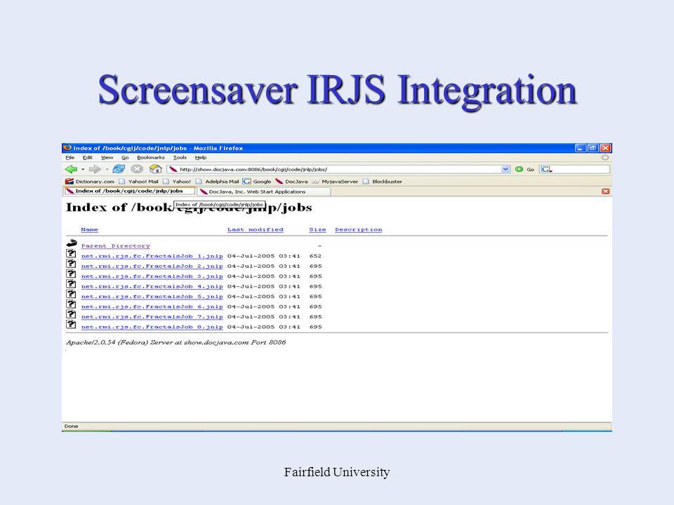 Fairfield University Screensaver IRJS Integration