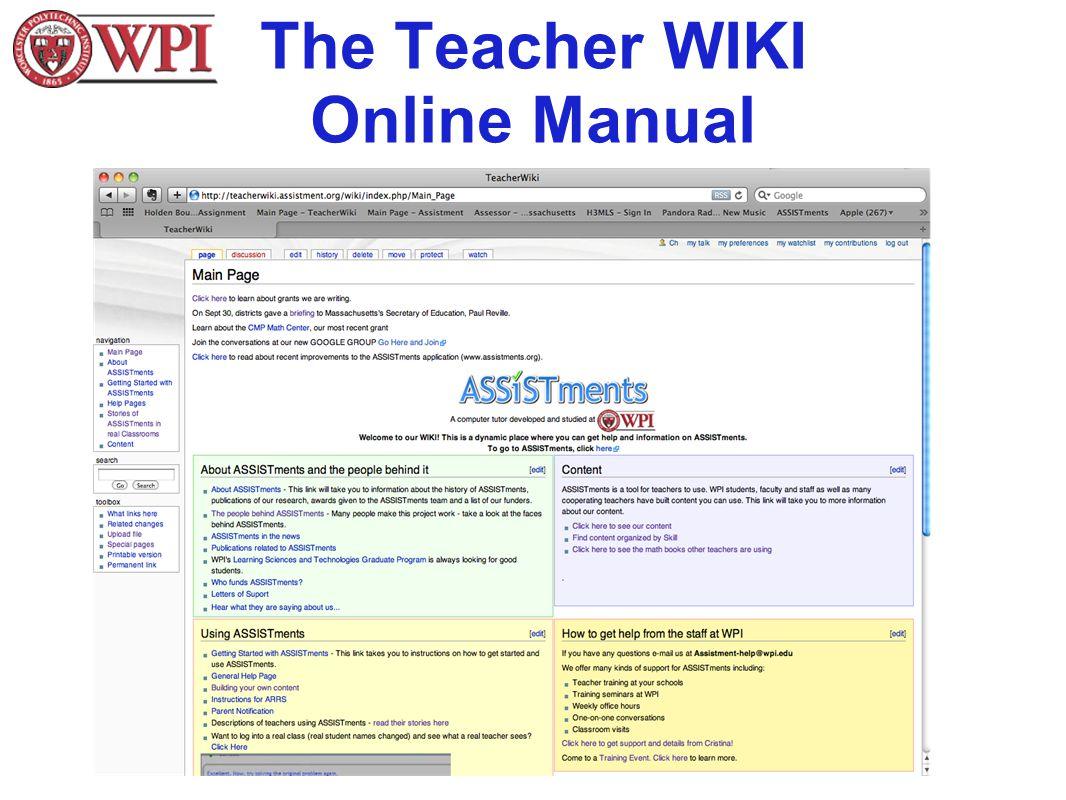 The Teacher WIKI Online Manual