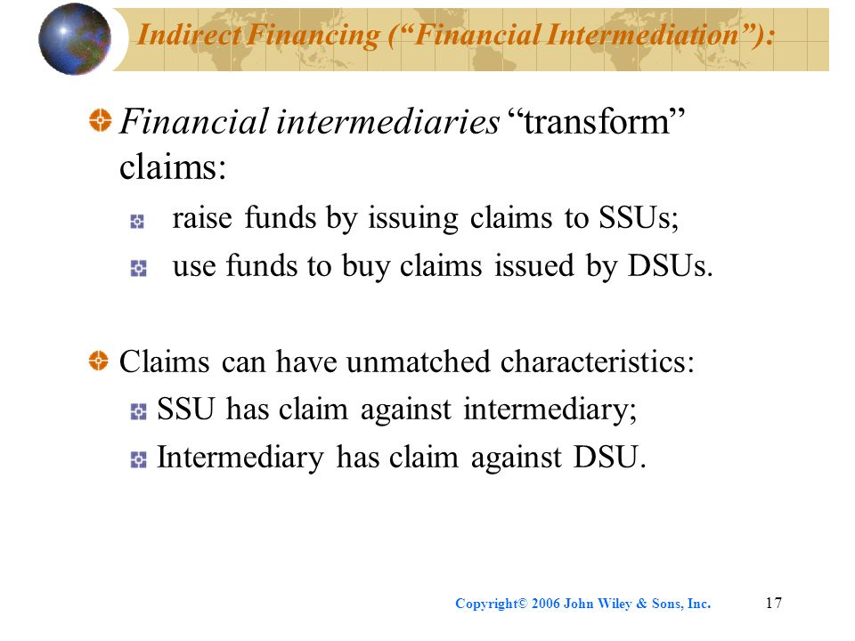 "Copyright© 2006 John Wiley & Sons, Inc.17 Indirect Financing (""Financial Intermediation""): Financial intermediaries ""transform"" claims: raise funds by"