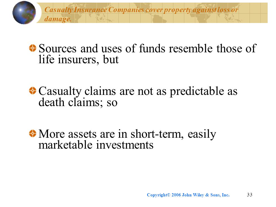 Copyright© 2006 John Wiley & Sons, Inc.33 Casualty Insurance Companies cover property against loss or damage.