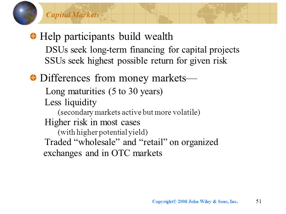 Copyright© 2006 John Wiley & Sons, Inc.51 Capital Markets Help participants build wealth DSUs seek long-term financing for capital projects SSUs seek highest possible return for given risk Differences from money markets— Long maturities (5 to 30 years) Less liquidity (secondary markets active but more volatile) Higher risk in most cases (with higher potential yield) Traded wholesale and retail on organized exchanges and in OTC markets