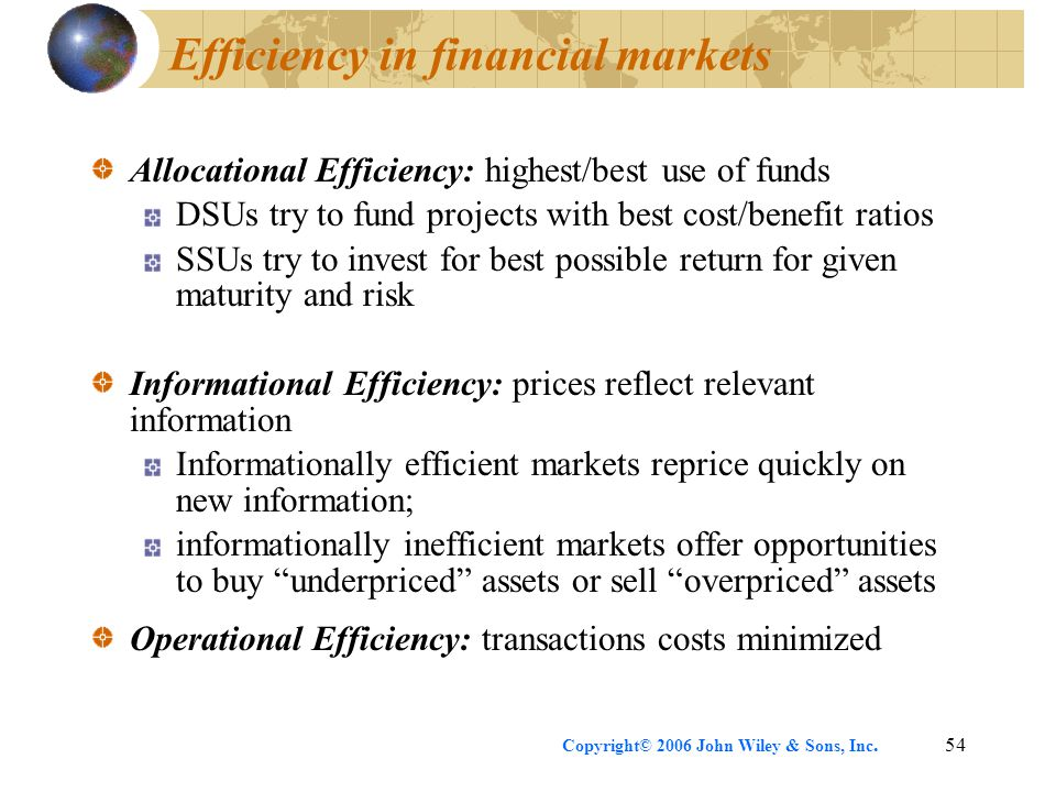 Copyright© 2006 John Wiley & Sons, Inc.54 Efficiency in financial markets Allocational Efficiency: highest/best use of funds DSUs try to fund projects with best cost/benefit ratios SSUs try to invest for best possible return for given maturity and risk Informational Efficiency: prices reflect relevant information Informationally efficient markets reprice quickly on new information; informationally inefficient markets offer opportunities to buy underpriced assets or sell overpriced assets Operational Efficiency: transactions costs minimized