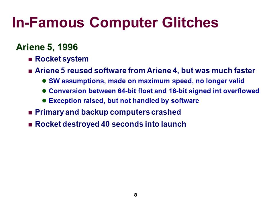 9 In-Famous Computer Glitches Intel floating point problem What is z.