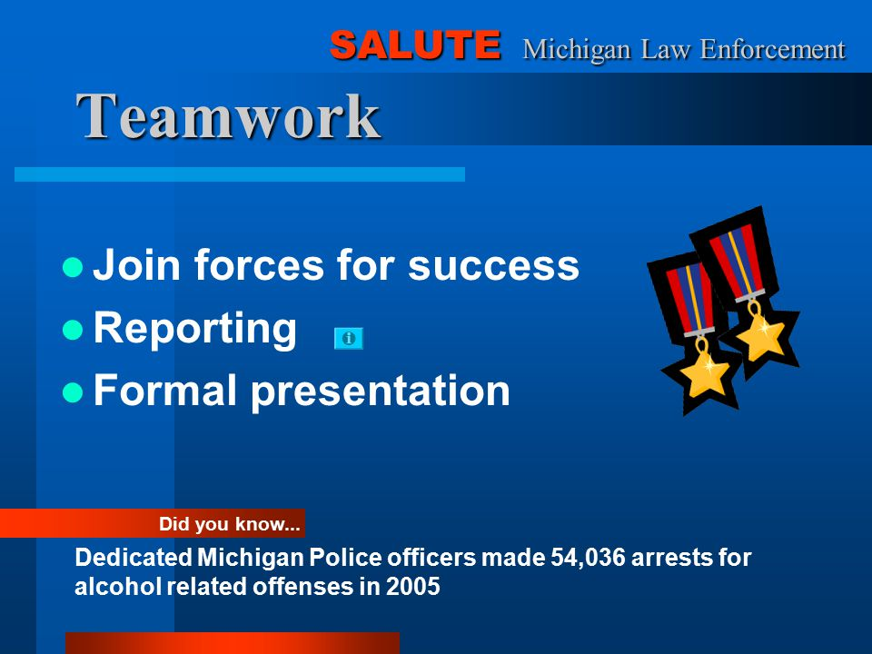 Teamwork Join forces for success Reporting Formal presentation Did you know...