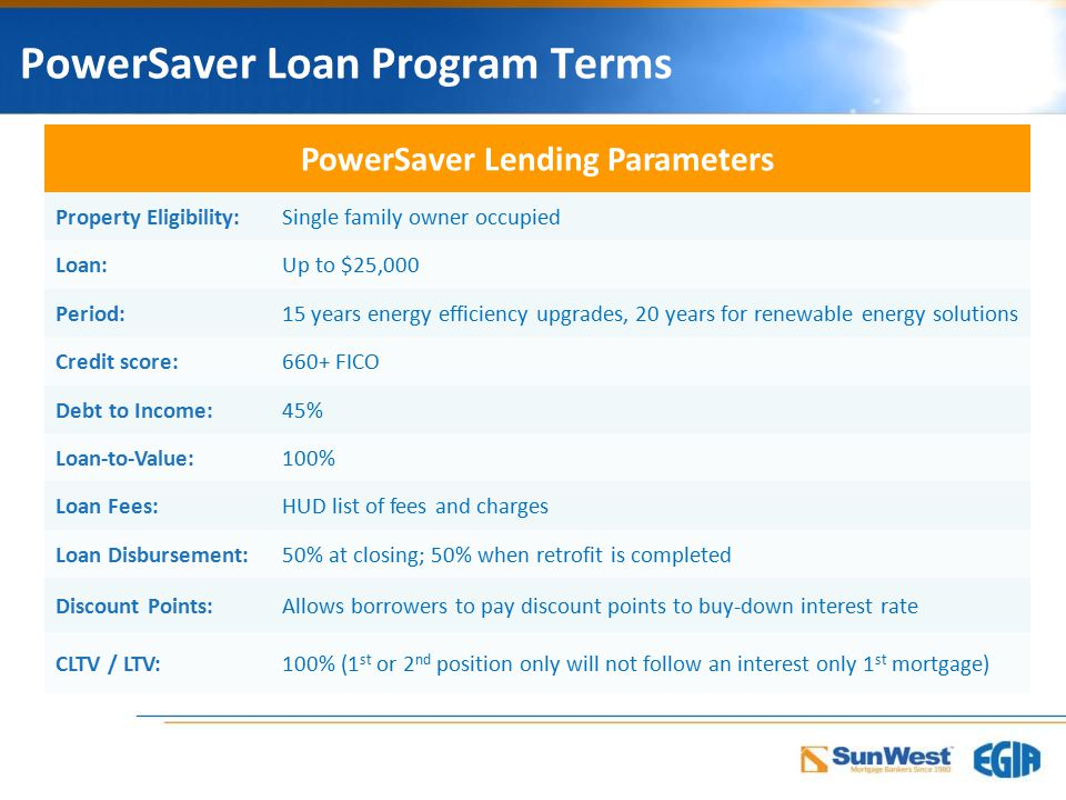 PowerSaver Loan Program Terms PowerSaver Lending Parameters Property Eligibility:Single family owner occupied Loan:Up to $25,000 Period:15 years energy efficiency upgrades, 20 years for renewable energy solutions Credit score:660+ FICO Debt to Income:45% Loan-to-Value:100% Loan Fees:HUD list of fees and charges Loan Disbursement:50% at closing; 50% when retrofit is completed Discount Points:Allows borrowers to pay discount points to buy-down interest rate CLTV / LTV:100% (1 st or 2 nd position only will not follow an interest only 1 st mortgage)