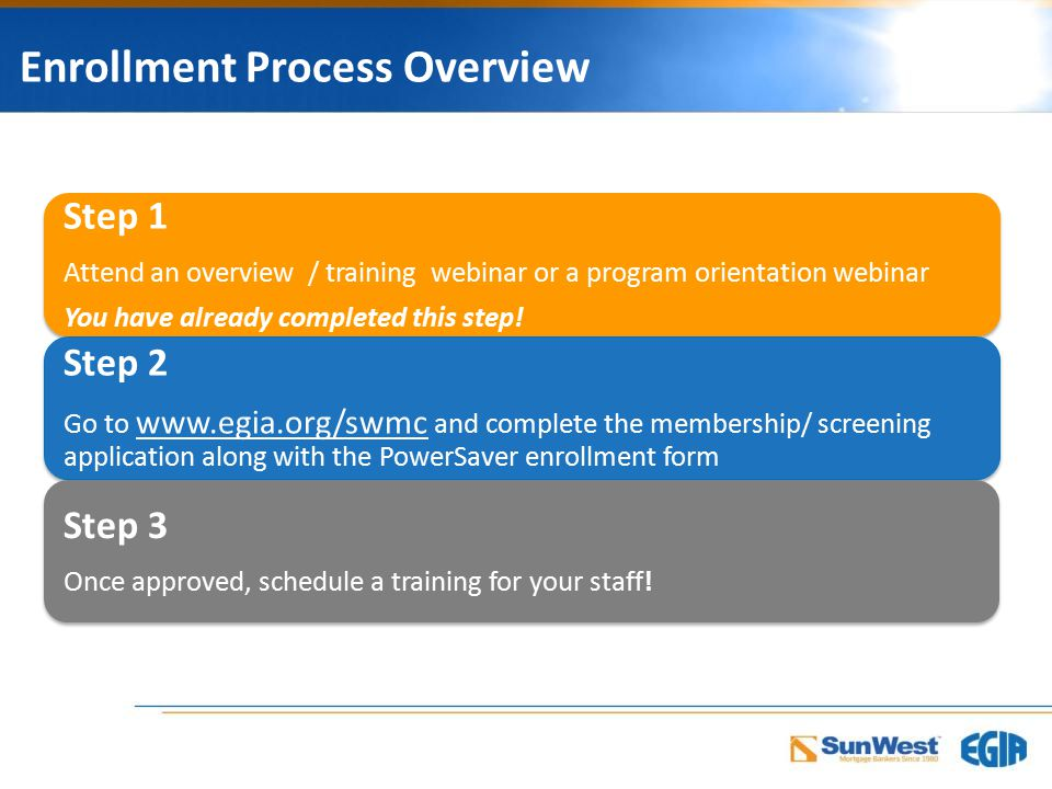 Enrollment Process Overview Step 1 Attend an overview / training webinar or a program orientation webinar You have already completed this step.