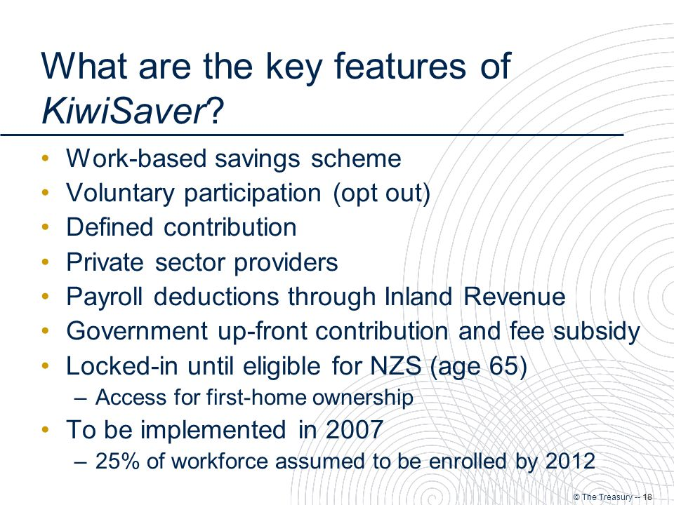 © The Treasury -- 18 What are the key features of KiwiSaver.