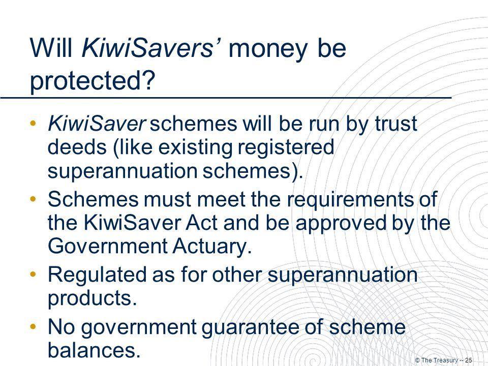 © The Treasury -- 25 Will KiwiSavers' money be protected.