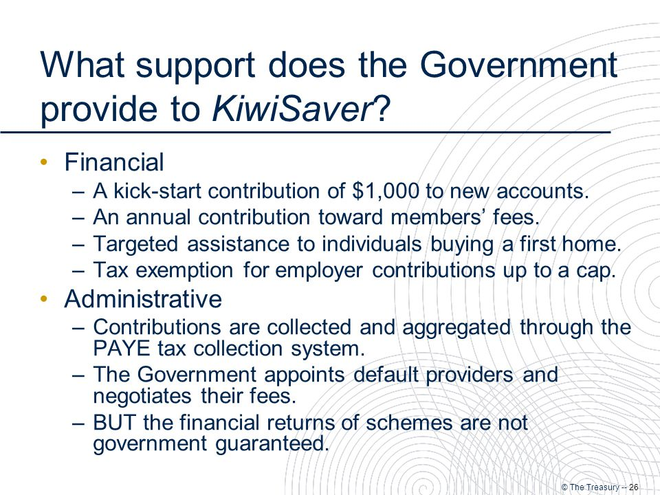 © The Treasury -- 26 What support does the Government provide to KiwiSaver.