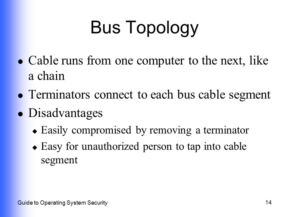14 Guide to Operating System Security Bus Topology Cable runs from one computer to the next, like a chain Terminators connect to each bus cable segmen