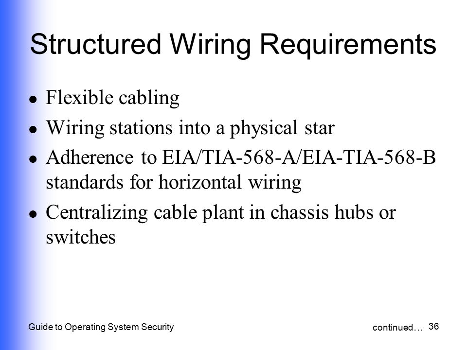 36 Guide to Operating System Security Structured Wiring Requirements Flexible cabling Wiring stations into a physical star Adherence to EIA/TIA-568-A/