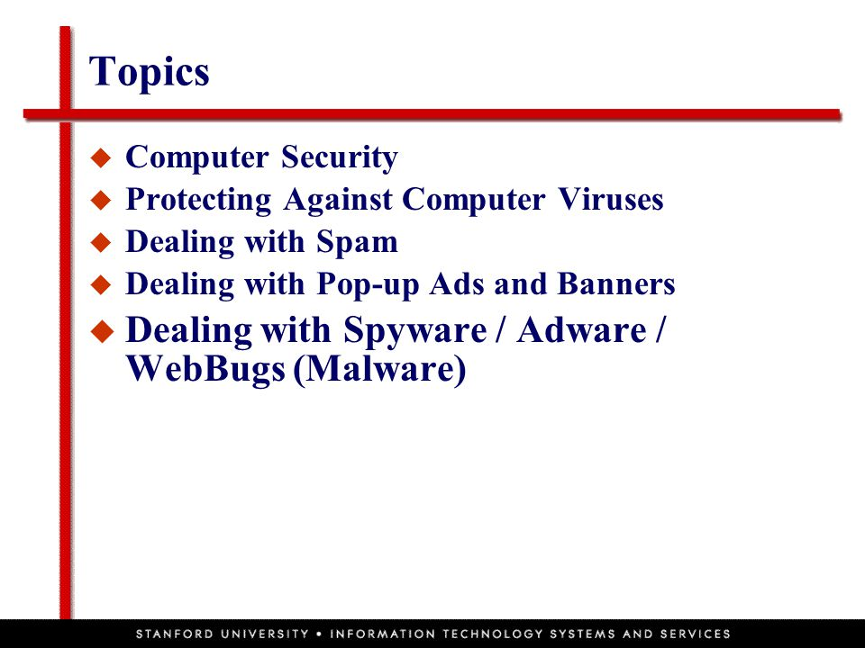 Topics  Computer Security  Protecting Against Computer Viruses  Dealing with Spam  Dealing with Pop-up Ads and Banners  Dealing with Spyware / Adware / WebBugs (Malware)