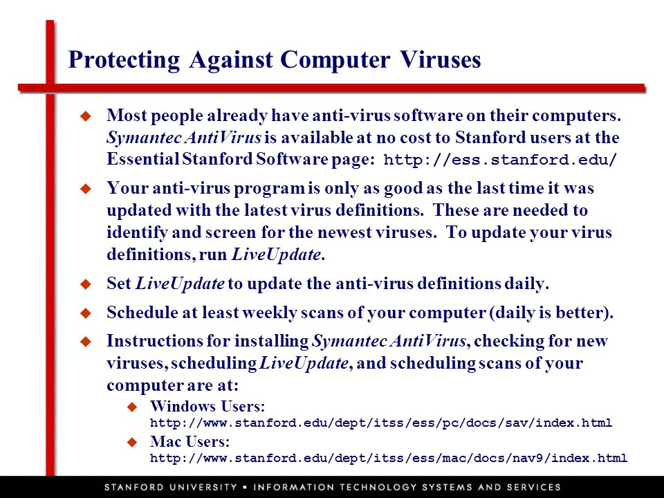Protecting Against Computer Viruses  Most people already have anti-virus software on their computers. Symantec AntiVirus is available at no cost to S