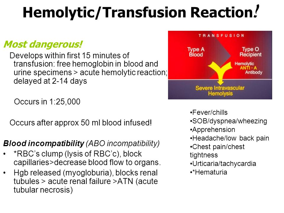 Transfusion Reactions/Complications Hemolytic (life-threatening!) –Acute hemolytic: ABO incompatible; red cell destruction (wrong blood type given to