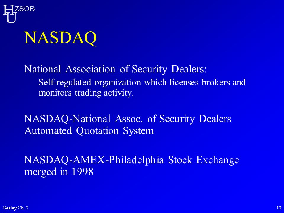 H U ZSOB Besley Ch. 213 NASDAQ National Association of Security Dealers: Self-regulated organization which licenses brokers and monitors trading activ