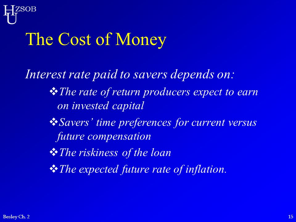 H U ZSOB Besley Ch. 215 The Cost of Money Interest rate paid to savers depends on:  The rate of return producers expect to earn on invested capital 