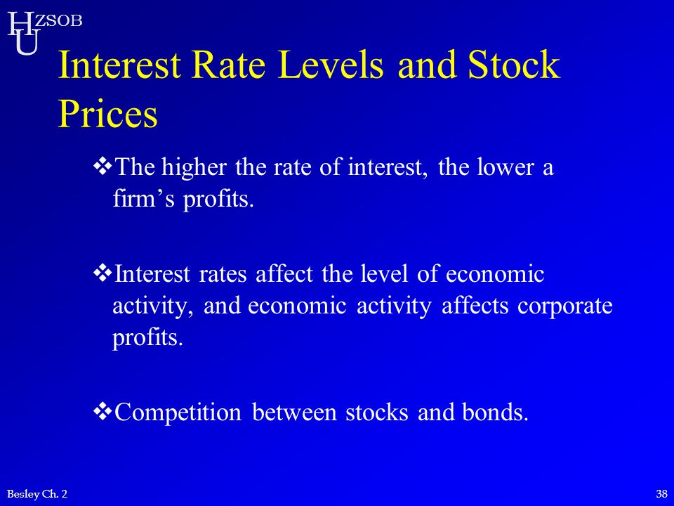 H U ZSOB Besley Ch. 238 Interest Rate Levels and Stock Prices  The higher the rate of interest, the lower a firm's profits.  Interest rates affect t