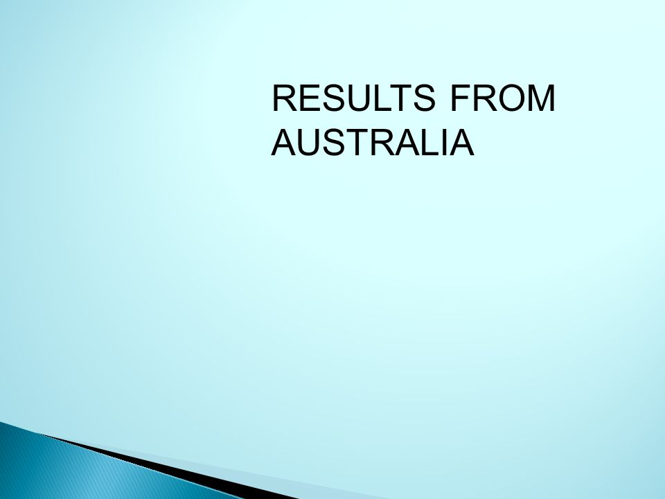 RESULTS FROM AUSTRALIA