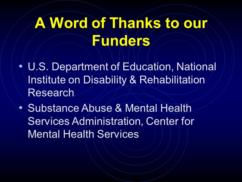 A Word of Thanks to our Funders U.S.