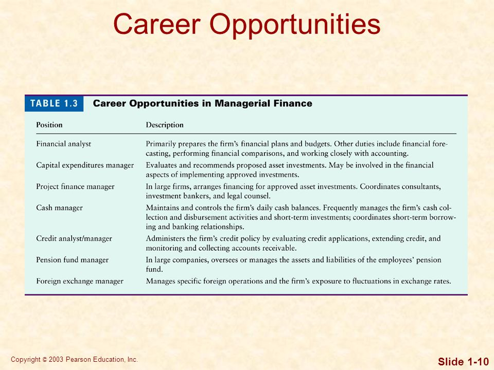 Copyright © 2003 Pearson Education, Inc. Slide 1-10 Career Opportunities