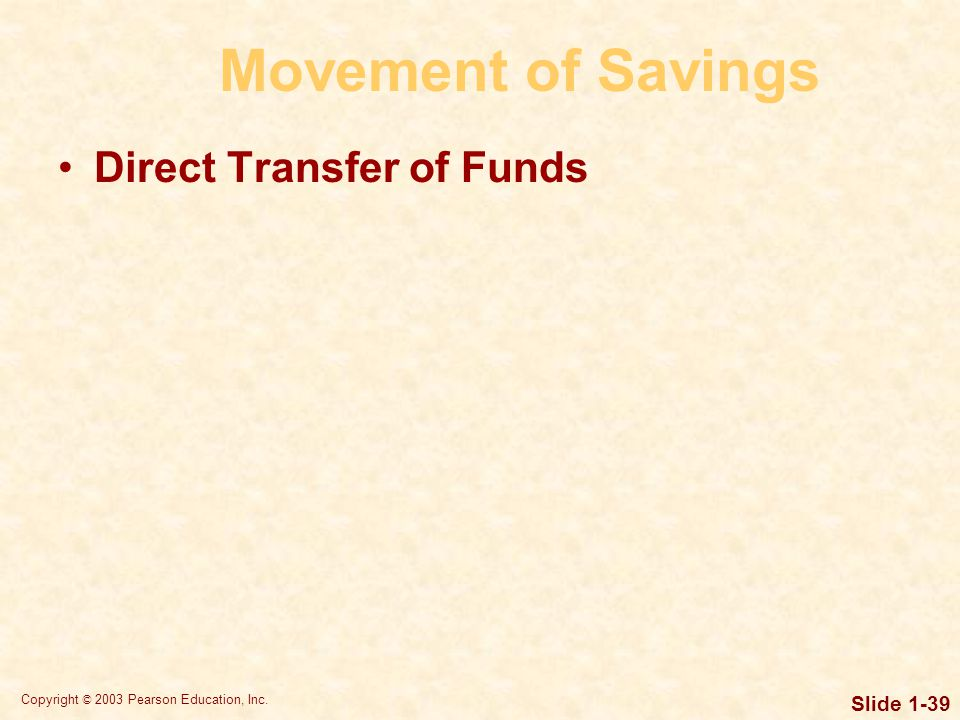 Copyright © 2003 Pearson Education, Inc. Slide 1-39 Movement of Savings Direct Transfer of Funds