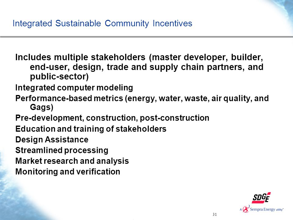 31 Integrated Sustainable Community Incentives Includes multiple stakeholders (master developer, builder, end-user, design, trade and supply chain par