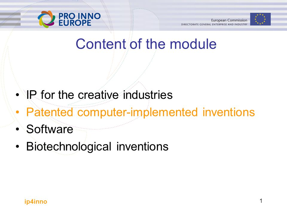 ip4inno 2 Patented computer-implemented inventions This short introduction to patentability focuses on what may be patentable in Europe and in the USA Specific questions concerning what modes of protection may be obtained are largely ignored The assumption is that the inventor will consult a professional patent attorney who will know whether program products, with or without carrier, or data signals are patentable in each regime
