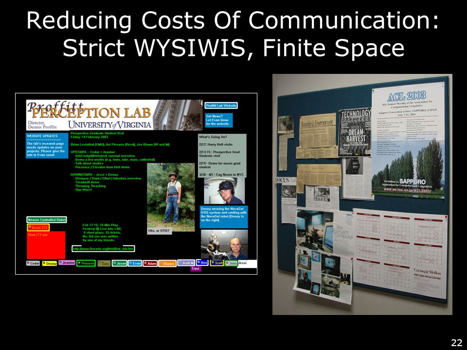 22 Reducing Costs Of Communication: Strict WYSIWIS, Finite Space