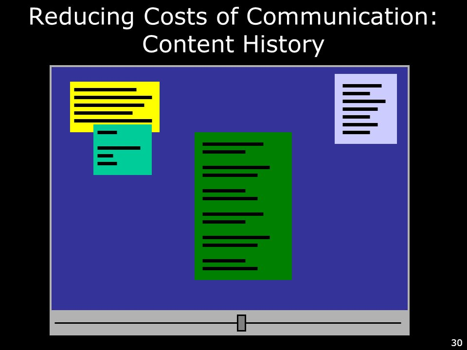 30 Reducing Costs of Communication: Content History