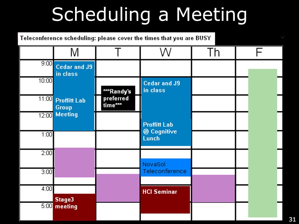 31 Scheduling a Meeting