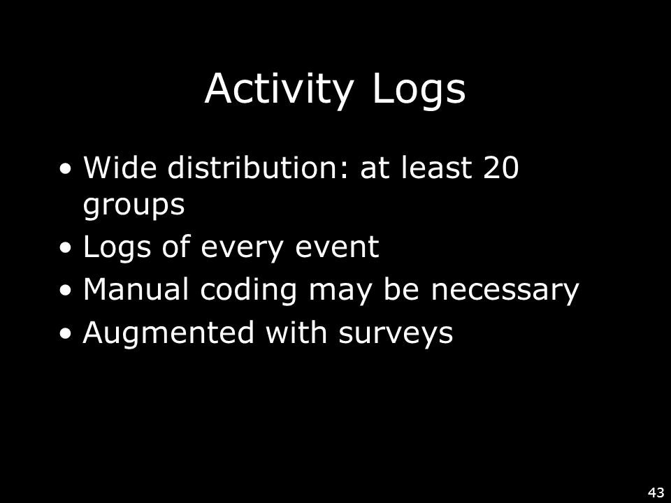 43 Activity Logs Wide distribution: at least 20 groups Logs of every event Manual coding may be necessary Augmented with surveys