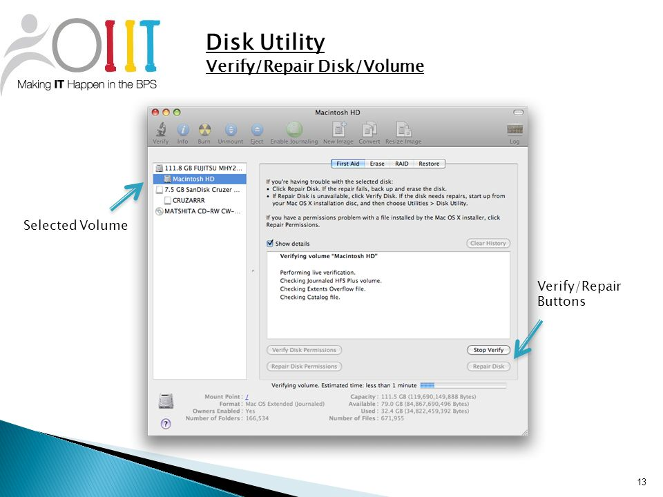 13 Disk Utility Verify/Repair Disk/Volume Verify/Repair Buttons Selected Volume