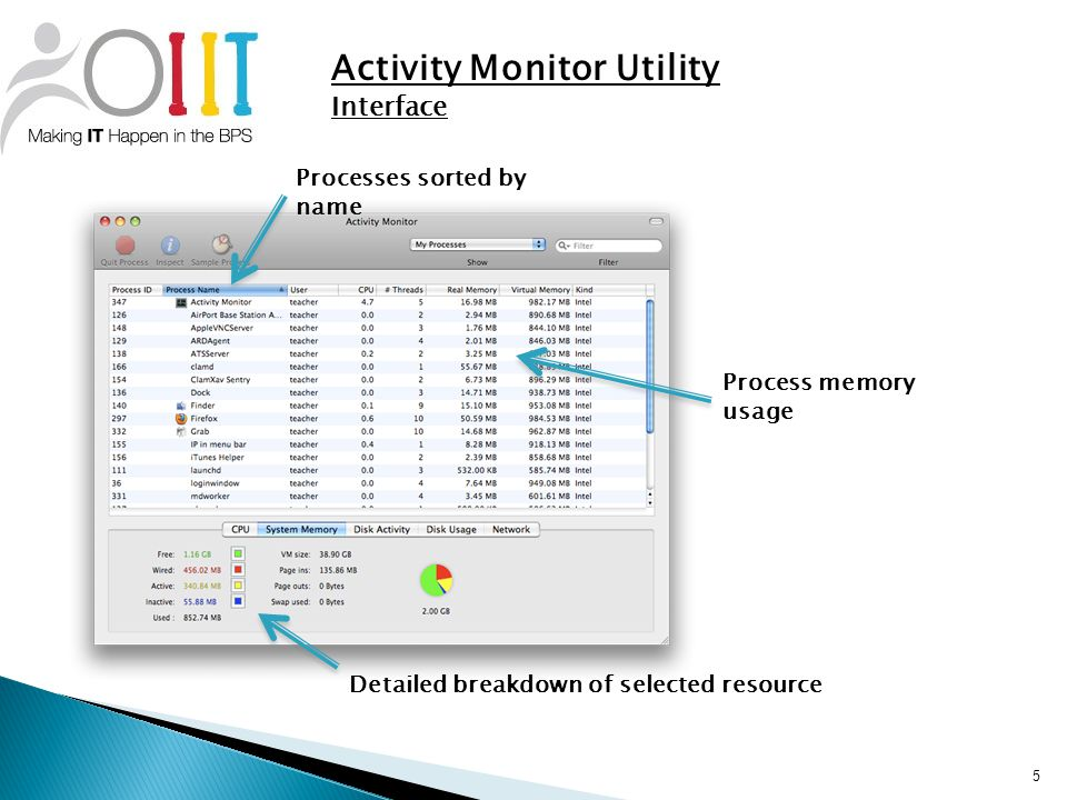 5 Activity Monitor Utility Interface Process memory usage Detailed breakdown of selected resource Processes sorted by name