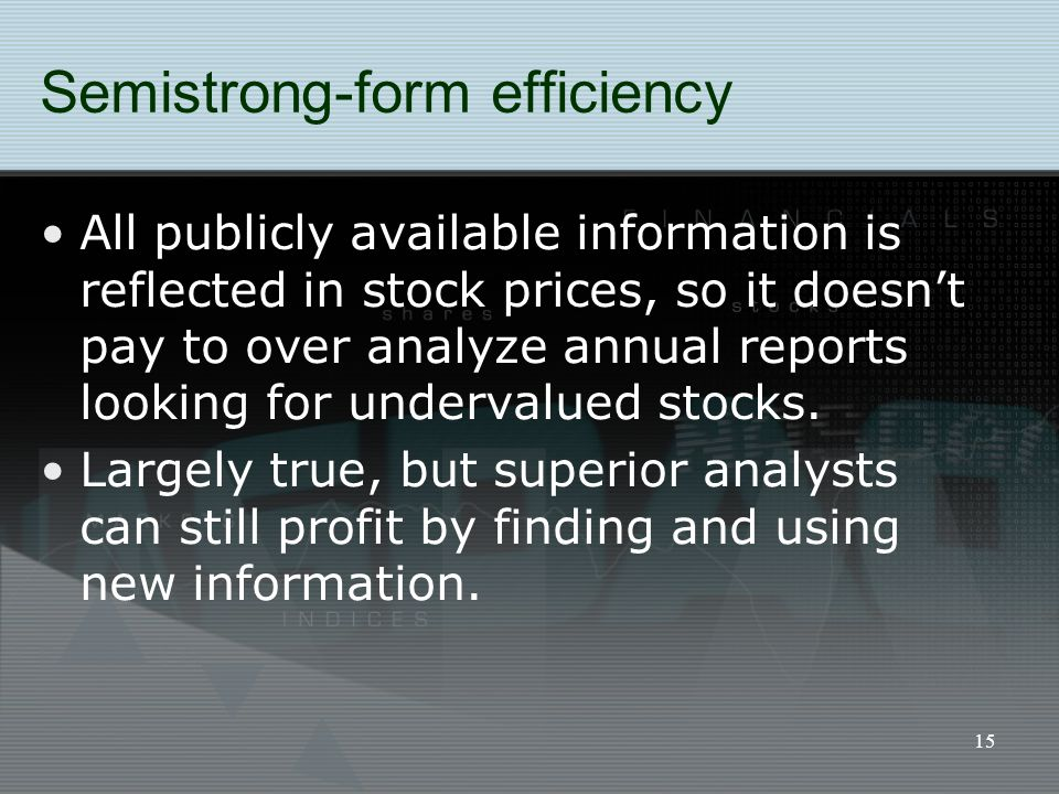 15 Semistrong-form efficiency All publicly available information is reflected in stock prices, so it doesn't pay to over analyze annual reports lookin