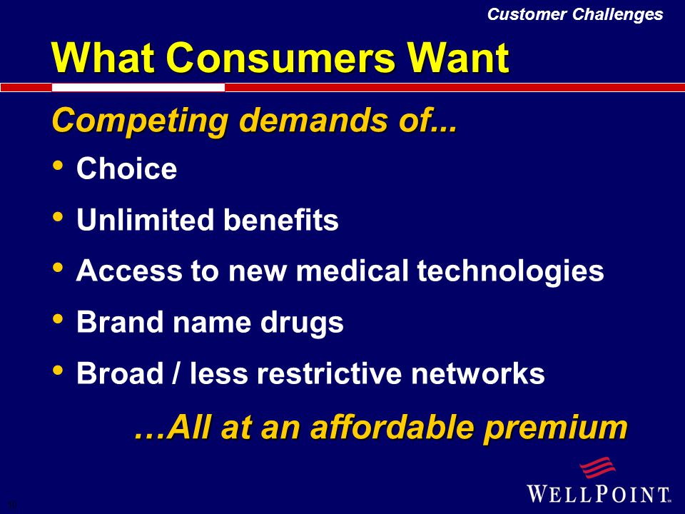 10 Competing demands of... Choice Unlimited benefits Access to new medical technologies Brand name drugs Broad / less restrictive networks What Consum