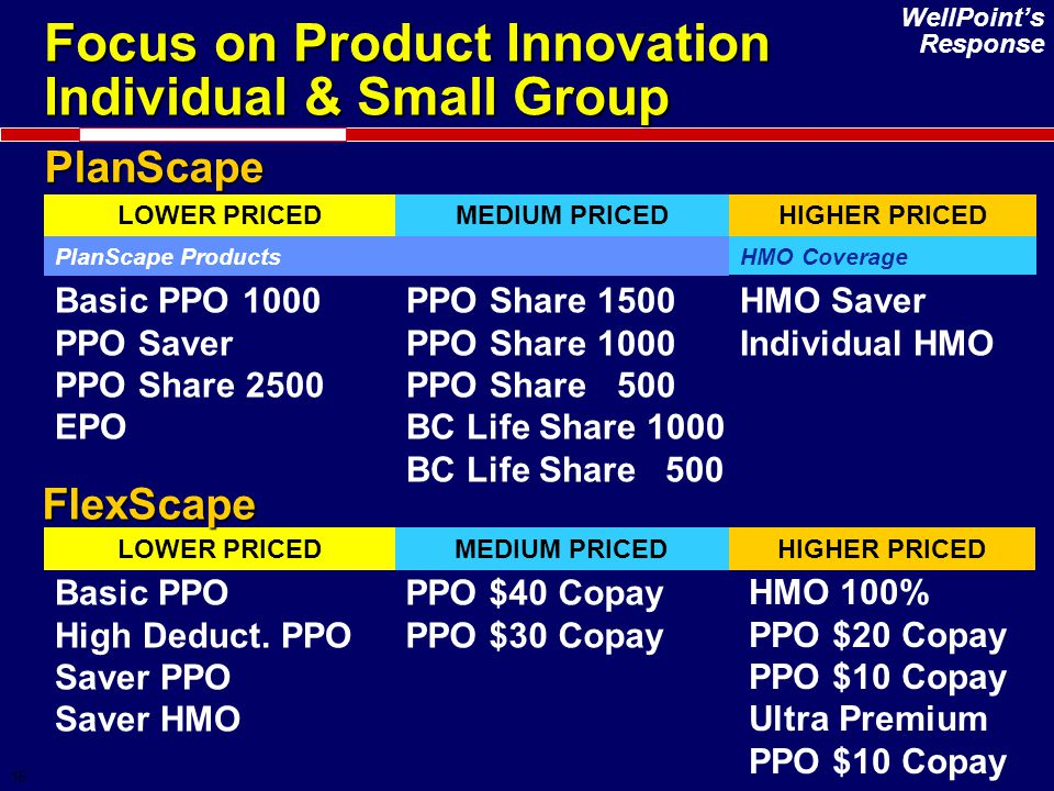 16 Focus on Product Innovation Individual & Small Group PlanScape LOWER PRICEDMEDIUM PRICEDHIGHER PRICED Basic PPO 1000 PPO Saver PPO Share 2500 EPO P