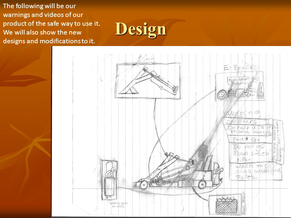Design The following will be our warnings and videos of our product of the safe way to use it.