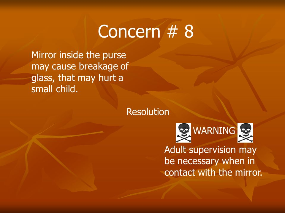 Concern # 8 Mirror inside the purse may cause breakage of glass, that may hurt a small child.