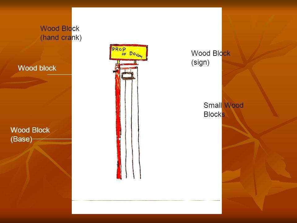 Wood block Wood Block (Base) Wood Block (sign) Wood Block (hand crank) Small Wood Blocks