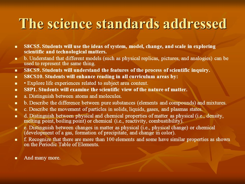 The science standards addressed S8CS5.